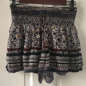 High Waisted Fabric Shorts